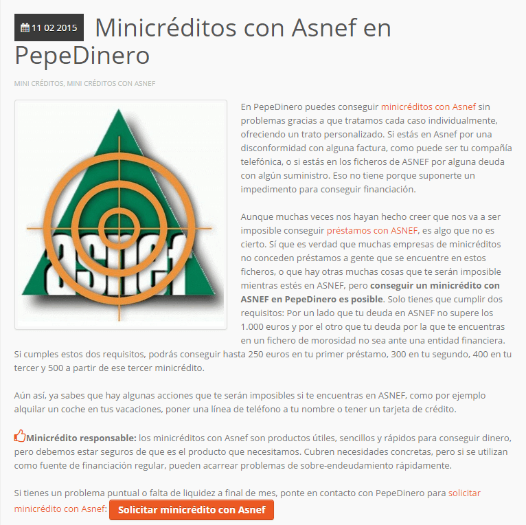 Mimicredito pepedinero con ASNEF