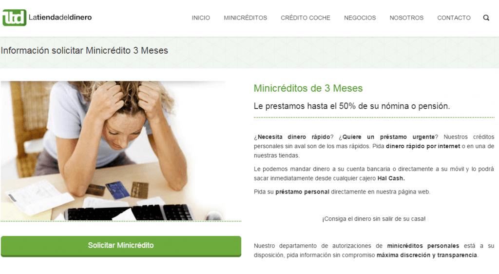 Minicredito por tres meses con Latiendadeldinero.com