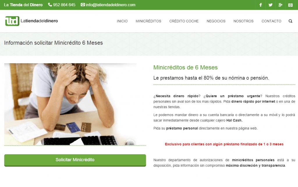 Minicredito por seis meses con Latiendadeldinero.com