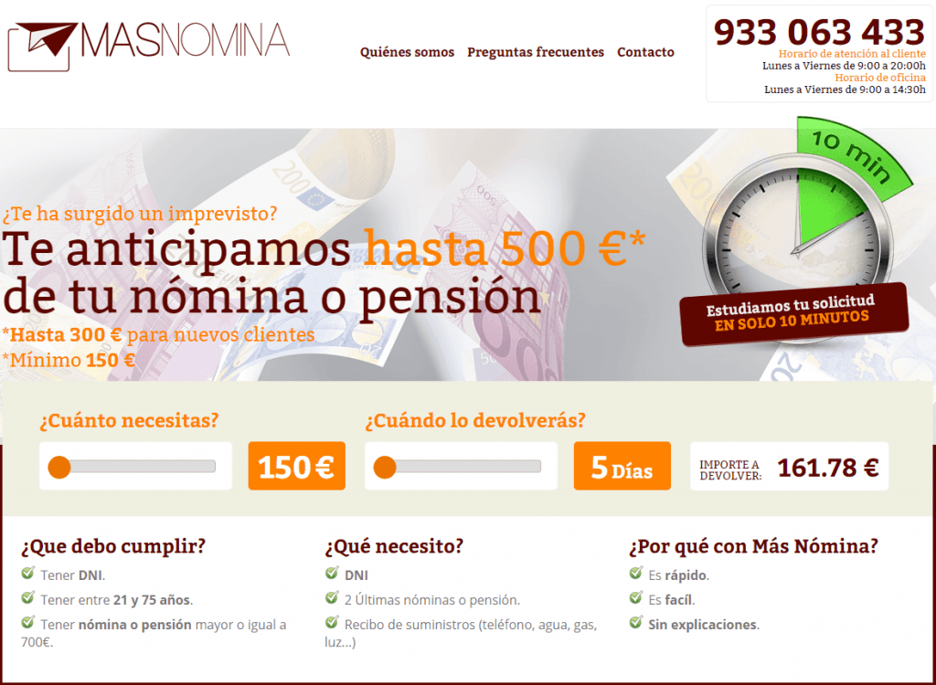 Masnomina.es anticipos de nomina o pension
