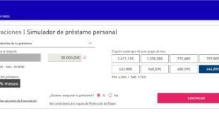 Simulador de préstamo personal Carrefour PASS