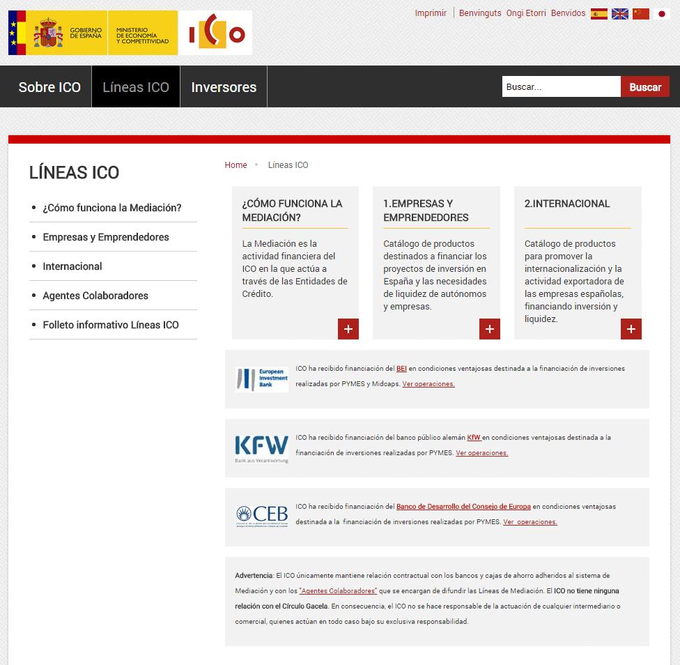 líneas de crédito ICO