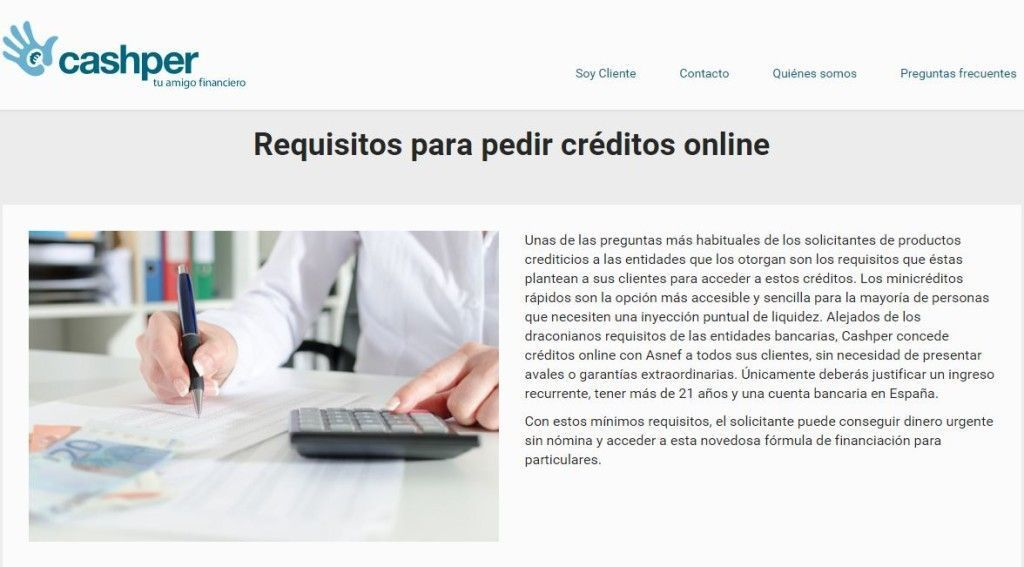 Requisitos cashper