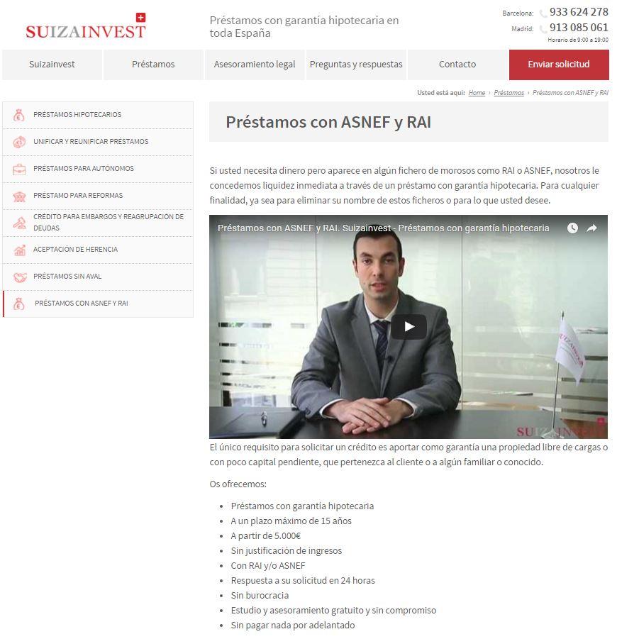 Suizainvest.com Préstamos con ASNEF y RAI