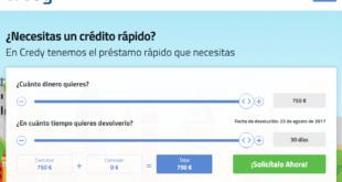Credy créditos rápidos Online de hasta 750€ sin importar ASNEF